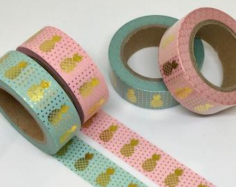 Gold Foil Pineapple Washi Tape/Adhesive Tape/ Decorative Tape
