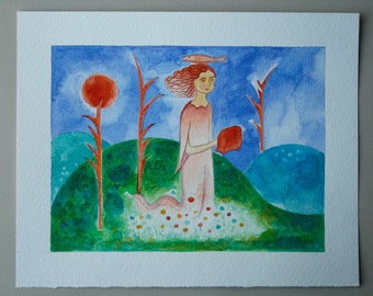 The Muse, the Fish, and the Moon - Original Watercolor Painting