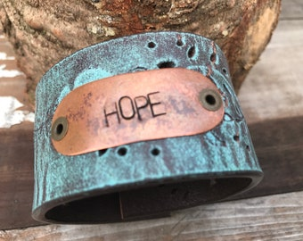 Stamped Leather Cuff-Hope-Word Cuff-Speak Truth