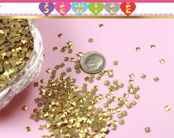 720 (5 Gross) 3mm Gold Pyramid Squares Studs | Iron On | Hot Fix | Glue On | Flat back | Nail Studs | Nail Art | Embellishment | DIY