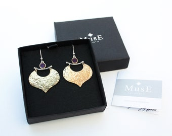 Ethnic earrings with Mosaic Tessera, made of silver 925, bronze and brass, handmade in Italy by jewellery MusE.