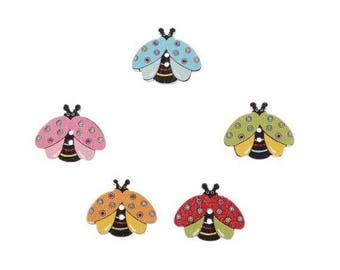 Set of 6 Ladybug 2 holes wooden buttons mixed colors