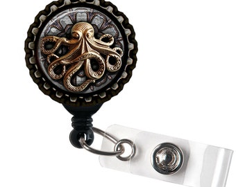 Steampunk Octopus -  Black Retractable Badge Reel ID Holder