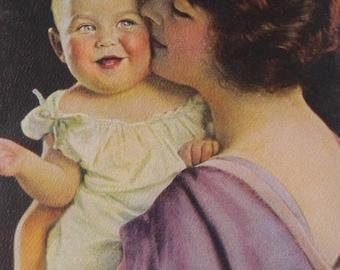 Mother &  Child - Original 1930's Calendar Art  Print- Mother Love - 3 3/4 x 7 3/4