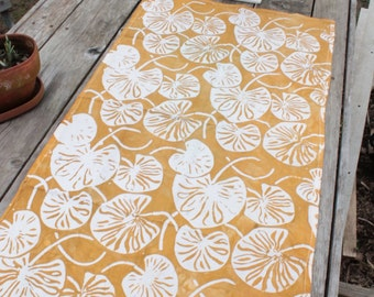 kitchen table floursack towel hand printed lilypads