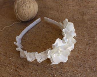 Ivory flower headband,Cream,Women Adults Girls Toddler Headband,Wedding Baptism Christening First Communion Headband,Bridesmaid Headband