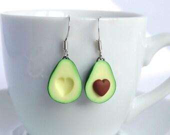 Green miniature avocado dangle earrings asymmetric pair heart pit avocado healthy food superfood funny earrings superfood lover present gift