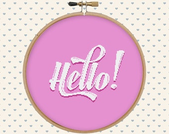 Hipster cross stitch - modern cross stitch pattern - easy cross stitch - hello cross stitch - calligraphy - pattern pdf - instant download