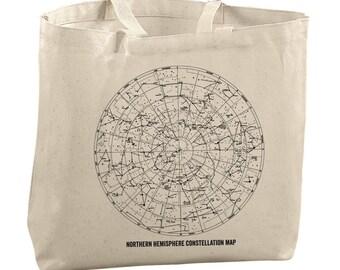 Constellation Tote Bag Canvas Tote Bag Reusable Bag Northern Hemisphere Stars Bag Astrology Tote Astronomy Tote Bag Star Gazing Tote Bag