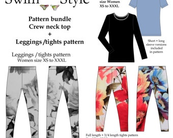 Crew neck top & leggings pattern bundle Women
