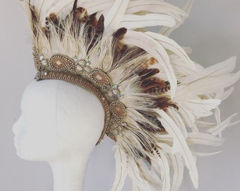 Bridal natural and white feather mohawk, boho feather headdress, burning man headdress, burning man feather headdress, boho feather mohawk