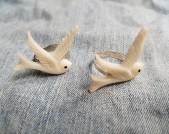 White Dove Ring - Silver Plated