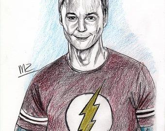 Jim Parsons / Sheldon Cooper - original pencil sketch - size A5