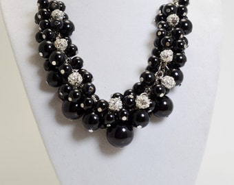 Pearl Necklace, Black and Rhinestones Chunky Necklace. Black Bridal Necklace, Chunky Necklace, Pearl and Rhinestone Jewelry, Bridal Jewelry.
