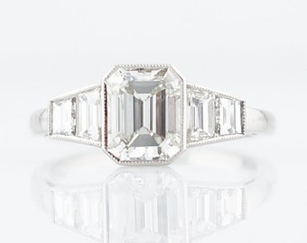 Engagement Ring Modern 1.42 Asscher Cut Diamond in Platinum