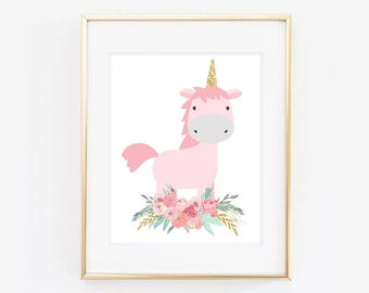Unicorn print, Unicorn Printable, Unicorn Nursery, Unicorn Wall Art, Unicorn Room Decor