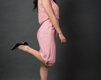 1960's blush pink beaded dress/Vintage Spring dress/Vintage Party Dress/Blush pink Beaded Dress