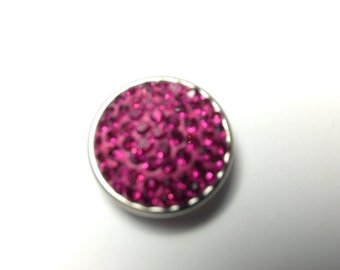 1- 18mm Raspberry jeweled Snap Button
