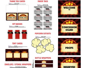 Movie Theme Party Pack -  DIGITAL or PRINTED