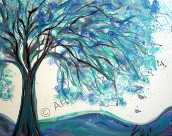 Abstract Modern 60x36 Painting, Canvas Art, Blue White Painting , Turquoise Tree Painting