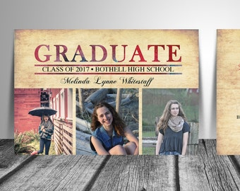 Graduation Announcement / Graduation / High School / Announcement / College / Photo Announcement / Vintage Grad Announcement / Double Sided