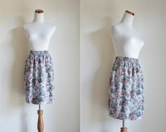 Vintage 90s Skirt, Floral A Line Skirt, Powder Blue and Mauve Flowers, Elastic Waist Skirt, Small Medium