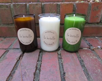 16 oz Upcycled Glass Bottle Soy Candle by La Botella | Wine Bottle Candle | Upcycled Bottle Candle