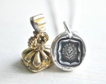 flower wax seal necklace pendant - PENSES Á MOI - think about me - forget me not - fine silver wax seal jewelry