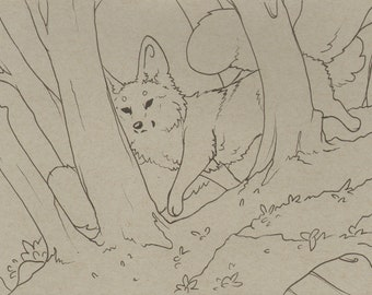 Little Woodland - Fox, kistune, inkdrawing, ink, fox, illustration
