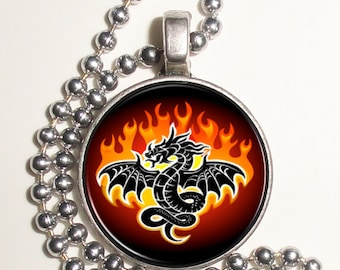 Black Dragon in Flames Altered Art Photo Pendant, Earrings and/or Keychain, Round, Silver and Resin Charm Jewelry