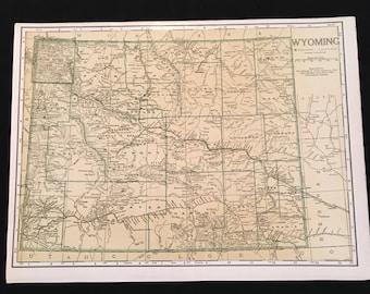 1942 Map of Wyoming, Original Vintage Map, Atlas Map for Framing, Vintage Home Decor
