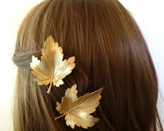 Leaf Hair Accessories Gold Bridal Clips Bridesmaid Barrettes Autumn Fall Rustic Wedding Headpiece Head Piece Unique Womens Gift For Her
