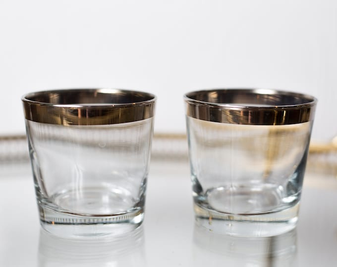2 Silver Rim Lowball Tumblers - 8oz Hand Blown Whisky Cocktail Glasses with Metallic Bands - Hollywood Regency Bohemian Barware