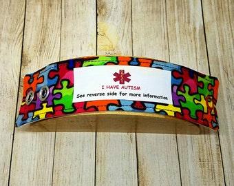 Autism ID Bracelet Autism Awareness Medical Alert Bracelet Medic Alert Medical ID Autism Wristband Fabric ID Bracelet Kids Identification