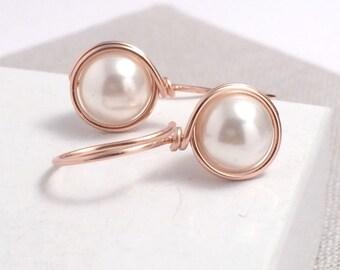 Pearl Earrings | Rose Gold Earrings | Pearl Drop Earrings | Bridesmaid Earrings | Bridal Earrings | Gift for Her | Wedding | June Birthday