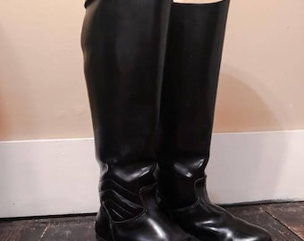 1970's Tall Leather Riding Boots with Ankle Quilting