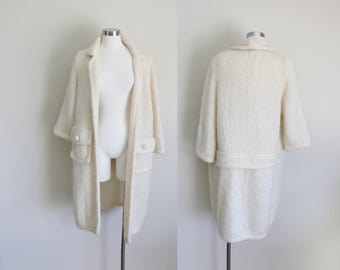 1960s Long Knit Cardigan | Open Front Cardigan | Cream Cardigan | Mohair Cardigan | Buffum's