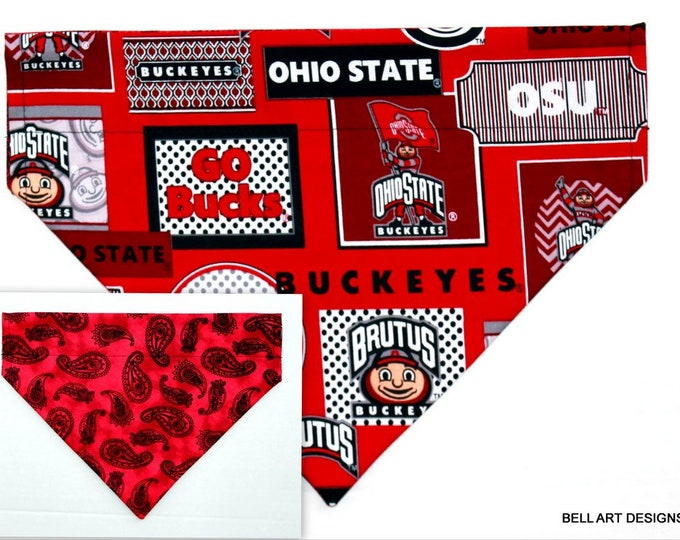 OHIO STATE ~ Buckeyes, Over the Collar ~ Reversible ~ Dog Pet Bandana ~ Bell Art Designs ~ Large DCL739