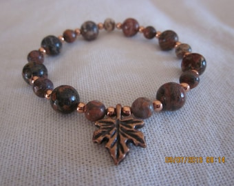 Colors of Fall gemstone stretch braclet