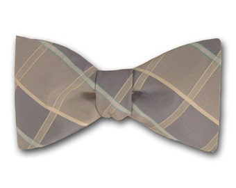 "Plaid Bow Tie ""Draco"" - Silk Pre Tied and Free Style Bow Tie - Hand Made in USA"
