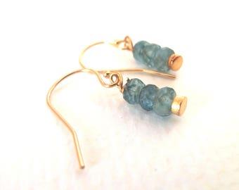 Aquamarine Shaded Steely Blue Natural Gemstone Handmade Earrings Dangle on 14k Gold Fill