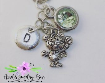 Year of the Tiger Birthstone Charm Necklace Custom Handmade with optional initial