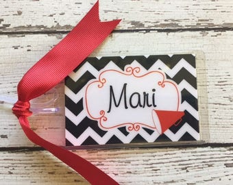 Personalized Cheer Bag Tag Megaphone Chevron Cheerleading Favors Cheerleading Squad Gift Cheer Tags Competiton Cheer Bag with Ribbon