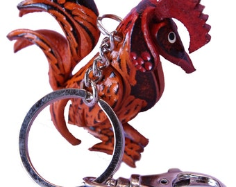 Collectible Red Farm  Roosters - Rooster Charms - Chicken Key Chain - Gifts for Men Women Kids - Quick Clip Snap Attached - Item #2187