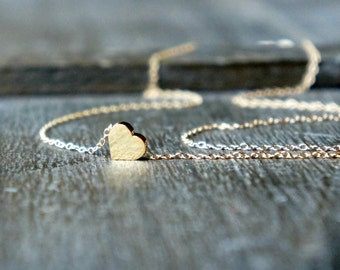 Gold Heart Necklace / Tiny Heart Pendant on a Gold Filled Chain / Sweet Heart