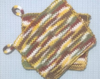 Hand Knit Hot Pads/Pot Holders ~ Set of 2 ~ Multicolored