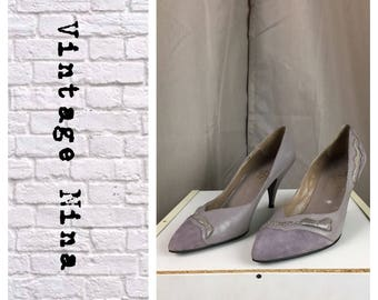 Vintage taupe suede and leather pumps circa 1980's- size 7