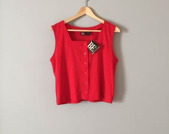 lipstick red crop top // new old stock cotton ribbed top
