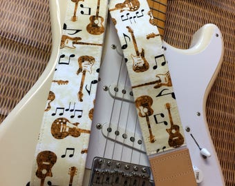 Music guitar strap // guitars and musical symbols on a cream background // guitarist gift // gifts for him // gifts for her // teenager gift