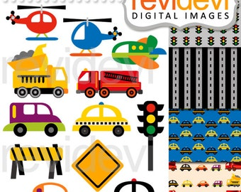 Transportation clipart sale, digital papers / City Traffic Jam Clip art, cars, helicopter, trucks, traffic light, vehicle clipart
